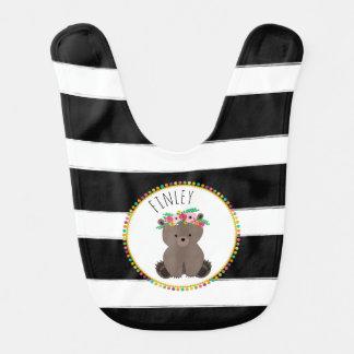 Boho Baby Bear Pompom Inspired Personalized Bib