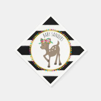 Boho Baby Deer Pompom Baby Shower Napkins Paper Serviettes