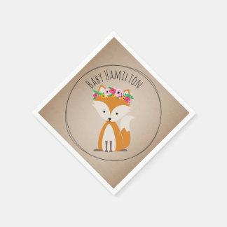 Boho Baby Fox Baby Shower Napkins Disposable Serviette
