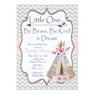 Boho Baby Girl Shower Invitation Tribal Invite
