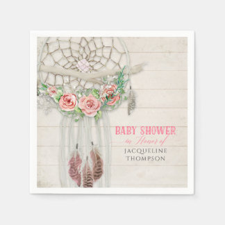 BOHO Baby Shower Feathers Dream Catcher Macrame Disposable Serviettes