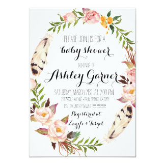 Boho Baby Shower Invitation, Feather, Flower 13 Cm X 18 Cm Invitation Card