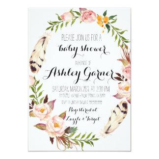 Boho Baby Shower Invitation, Feather, Flower 13 Cm X 18 Cm Invitation Card