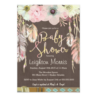 Boho Baby Shower Invitation, Tribal Feather Rustic 13 Cm X 18 Cm Invitation Card
