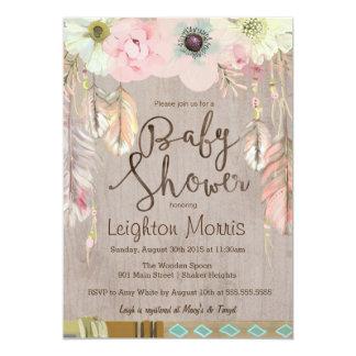 Boho Baby Shower Invitation, Tribal Feather Rustic 13 Cm X 18 Cm Invitation Card