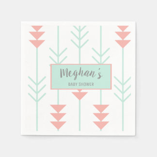 Boho Baby Shower | Mint Green and Peach Arrow Disposable Serviettes