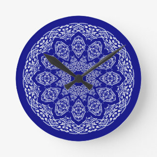 Boho Bazaar Cobalt Pattern Round Clock