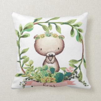 Boho Bear Baby Nursery Cactus Succulent Pillow
