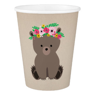 Boho Bear Baby Shower Brown Paper Cup