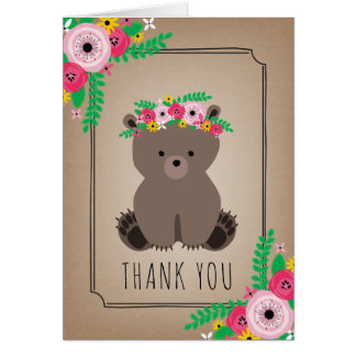 Boho Bear Baby Shower Thank You Brown Card