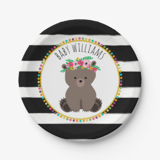 Boho Bear Cardstock Inspired Custom Baby Shower Paper Plate