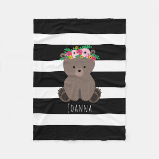 Boho Bear Stripe Girls Fleece Blanket