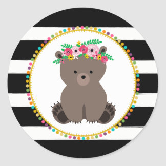 Boho Bear Striped Pompom Inspired Baby Shower Round Sticker