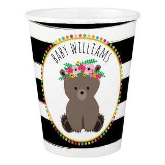 Boho Bear Stripes Baby Shower Cup