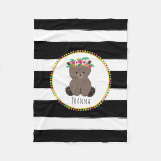 Boho Bear Stripes Girls Fleece Blanket