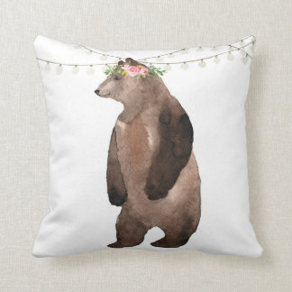 Boho Bear Woodland Watercolor Baby Nursery Pillow