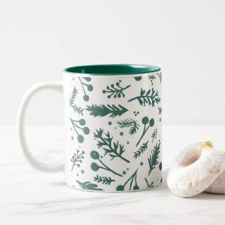 Boho Berries Holiday Mug in Green