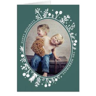 Boho Berries Oval Holiday Folded Photo Card Green