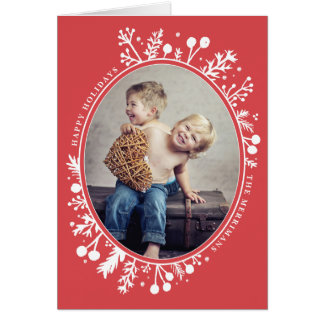Boho Berries Oval Holiday Folded Photo Card Red