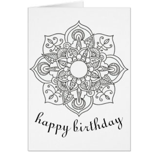 Boho Birthday mandala floral ornament coloring art Card