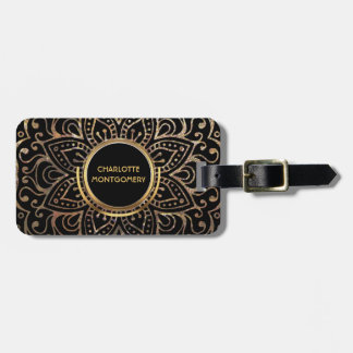 Boho Black Gold Foil Mandala | Monogrammed Girly Luggage Tag