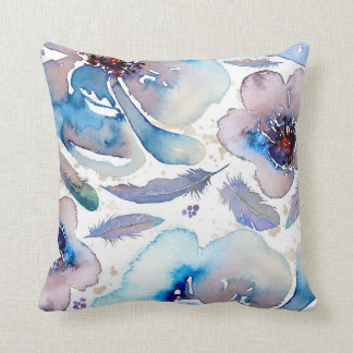 Boho Blue and Blush Modern Floral Watercolors Cushion