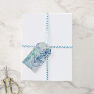 Boho Blue Birthday Wishes Gift Tags