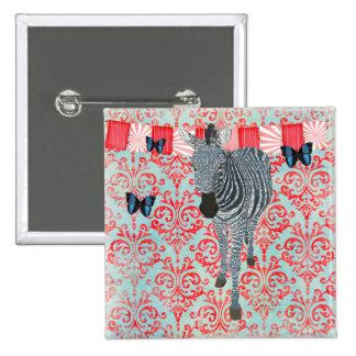 Boho Blue Butterflies & Zebra Damask Button