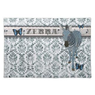 Boho Blue Butterflies & Zebra Grunge Damask Placem Placemat