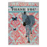 Boho Blue Butterflies & Zebra Thank You Card
