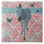 Boho Blue Butterflies & Zebra Tile