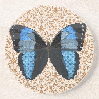 Boho Blue Butterfly Art Coaster