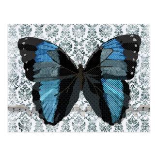 Boho Blue Butterfly Damask Postcard