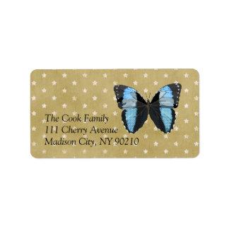 Boho Blue Butterfly Label Address Label