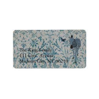 Boho Blue Butterfly & Zebra Damask Label Address Label