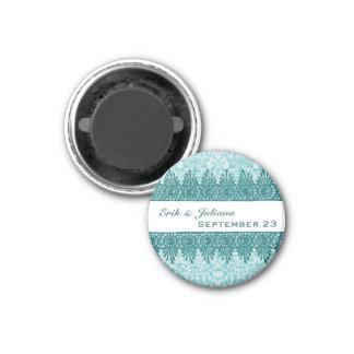 Boho Blue Damask Teal Save the Date Magnet