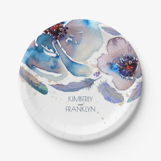 Boho Blue Floral Feathers Watercolor Wedding Paper Plate