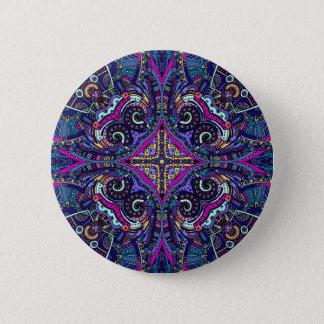 Boho blue kaleidoscope native american trend 6 cm round badge