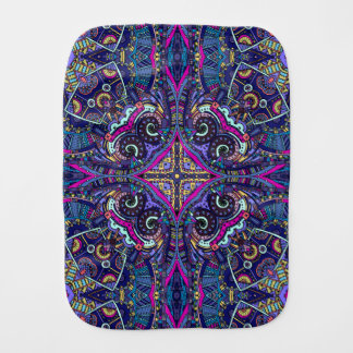 Boho blue kaleidoscope native american trend burp cloth