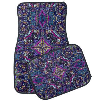 Boho blue kaleidoscope native american trend car mat