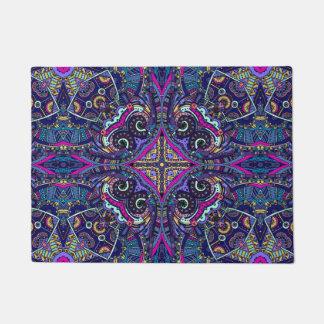 Boho blue kaleidoscope native american trend doormat