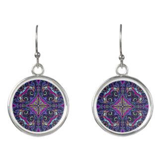 Boho blue kaleidoscope native american trend earrings