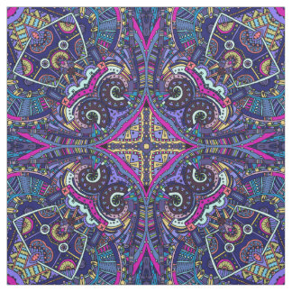 Boho blue kaleidoscope native american trend fabric
