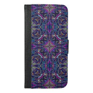 Boho blue kaleidoscope native american trend iPhone 6/6s plus wallet case