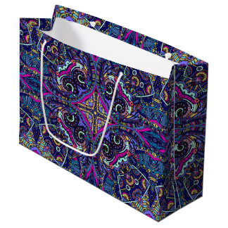 Boho blue kaleidoscope native american trend large gift bag