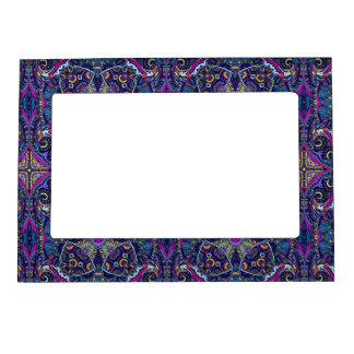 Boho blue kaleidoscope native american trend magnetic picture frames
