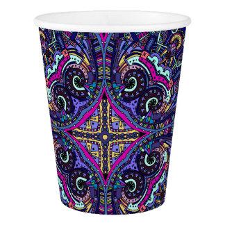 Boho blue kaleidoscope native american trend paper cup