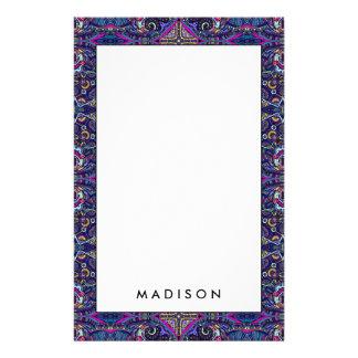 Boho blue kaleidoscope native american trend stationery