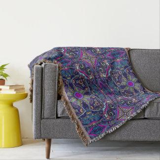 Boho blue kaleidoscope native american trend throw blanket