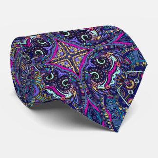 Boho blue kaleidoscope native american trend tie